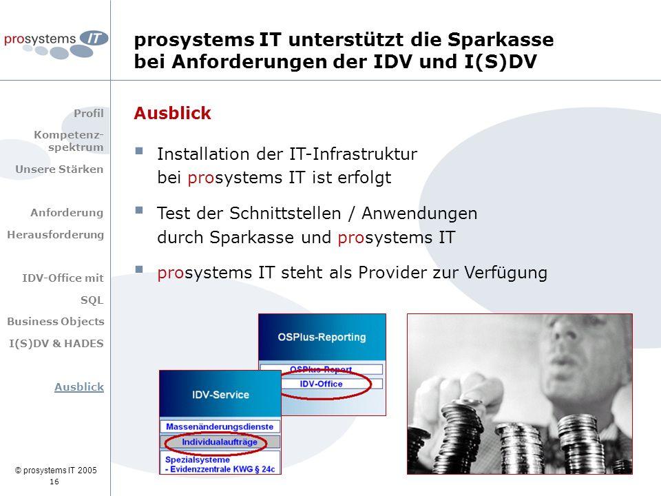 © prosystems IT 2005 16 Ausblick  Installation der IT-Infrastruktur bei prosystems IT ist erfolgt  Test der Schnittstellen / Anwendungen durch Spark