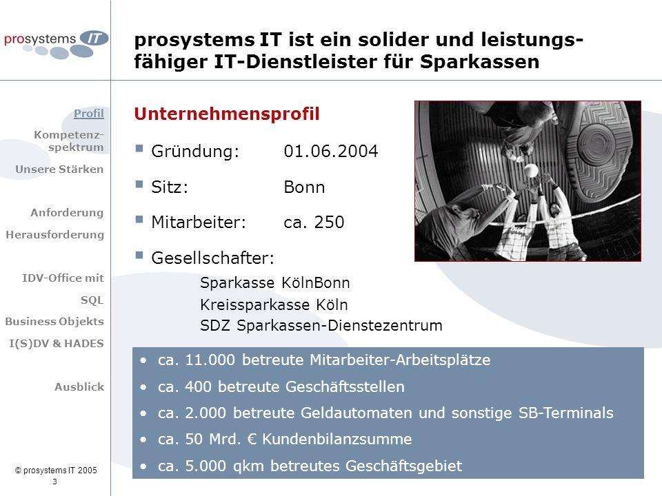 © prosystems IT 2005 prosystems IT ist ein solider und leistungs- fähiger IT-Dienstleister für Sparkassen Unternehmensprofil  Gründung: 01.06.2004 