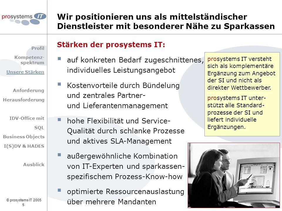 © prosystems IT 2005 5 Stärken der prosystems IT:  auf konkreten Bedarf zugeschnittenes, individuelles Leistungsangebot  Kostenvorteile durch Bündel