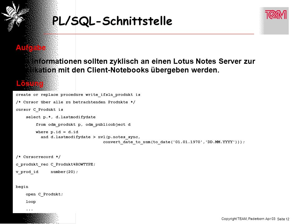 Copyright TEAM, Paderborn Seite 12 Apr 03 PL/SQL-Schnittstelle Aufgabe Alle Informationen sollten zyklisch an einen Lotus Notes Server zur Replikation mit den Client-Notebooks übergeben werden.
