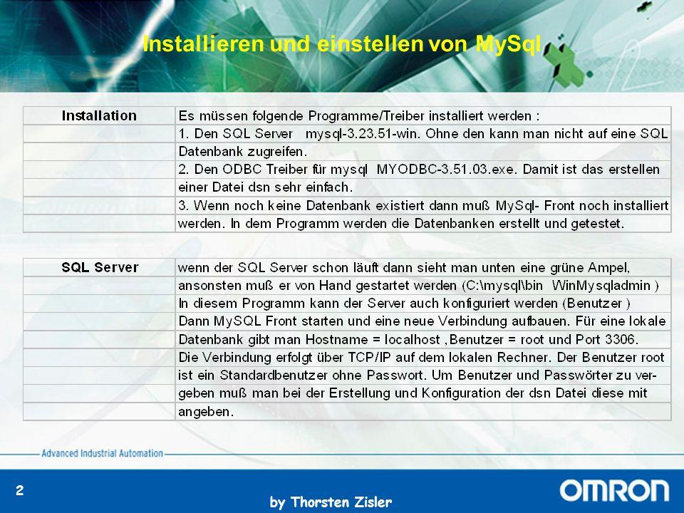 by Thorsten Zisler 2 Installieren und einstellen von MySql