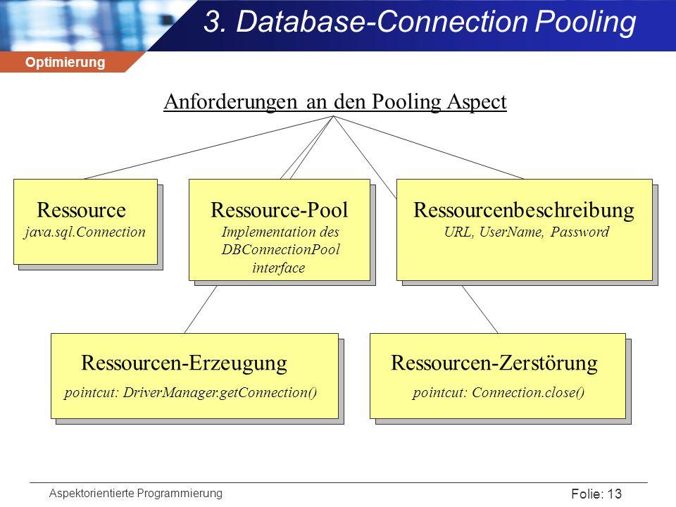 Optimierung Aspektorientierte Programmierung Folie: 13 3. Database-Connection Pooling Anforderungen an den Pooling Aspect Ressource Ressource-Pool Res