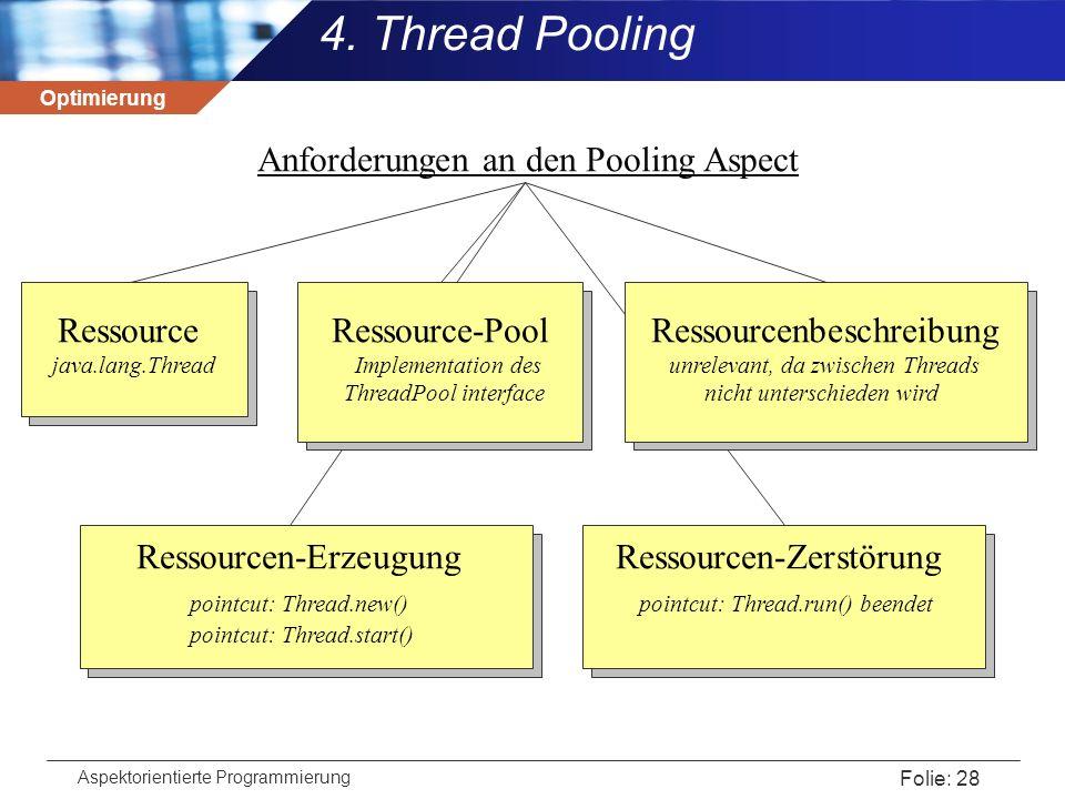 Optimierung Aspektorientierte Programmierung Folie: 28 4. Thread Pooling Anforderungen an den Pooling Aspect Ressource Ressource-Pool Ressourcenbeschr