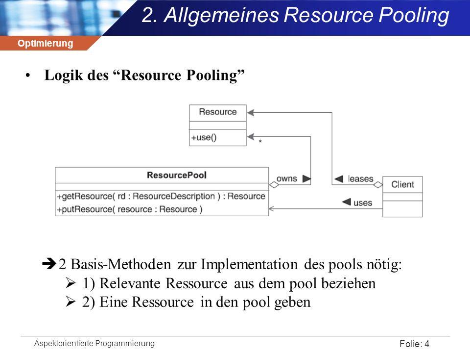 Optimierung Aspektorientierte Programmierung Folie: 5 Typische Umsetzung: public interface ResourcePool { public Resource getResource(ResourceDescription rd); public boolean putResource(Resource r); } 2.
