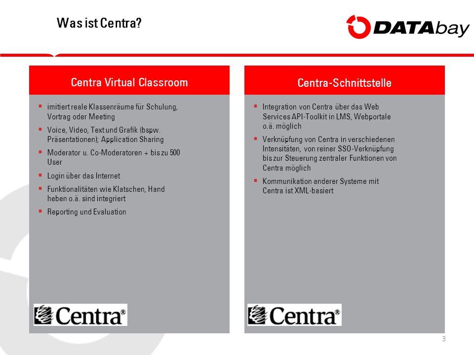 3 Was ist Centra?  imitiert reale Klassenräume für Schulung, Vortrag oder Meeting  Voice, Video, Text und Grafik (bspw. Präsentationen); Application