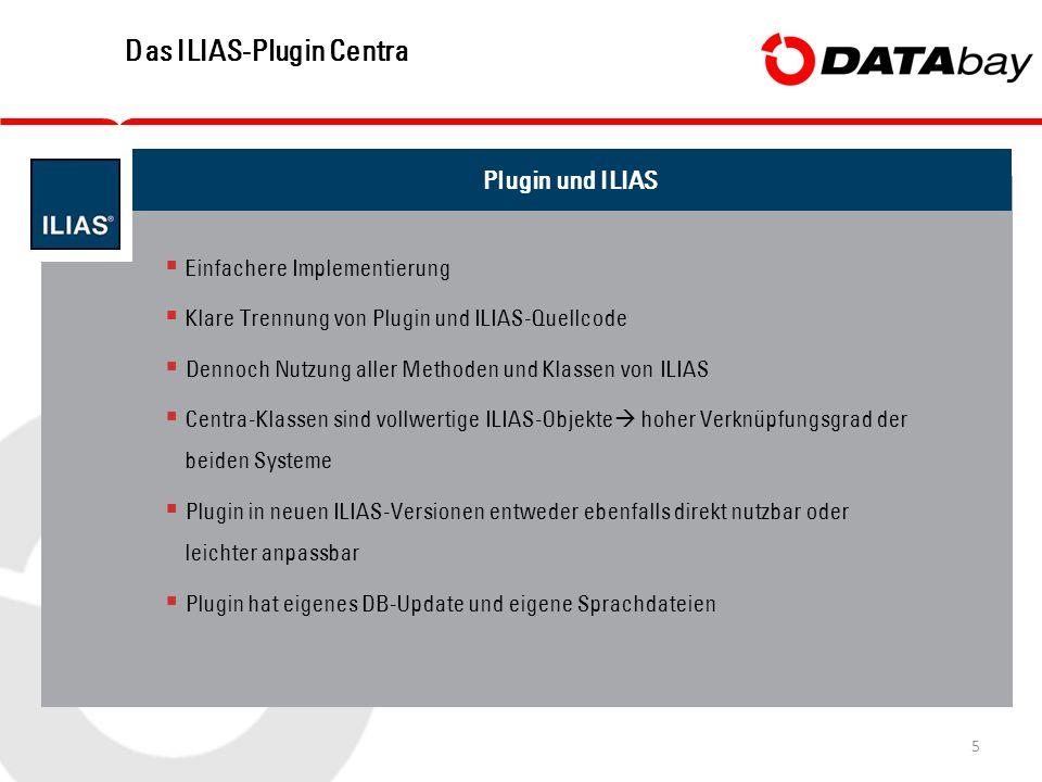 5 Das ILIAS-Plugin Centra Plugin und ILIAS  Einfachere Implementierung  Klare Trennung von Plugin und ILIAS-Quellcode  Dennoch Nutzung aller Methoden und Klassen von ILIAS  Centra-Klassen sind vollwertige ILIAS-Objekte  hoher Verknüpfungsgrad der beiden Systeme  Plugin in neuen ILIAS-Versionen entweder ebenfalls direkt nutzbar oder leichter anpassbar  Plugin hat eigenes DB-Update und eigene Sprachdateien