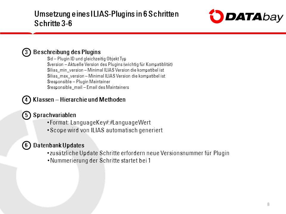 8 Umsetzung eines ILIAS-Plugins in 6 Schritten Schritte 3-6 Beschreibung des Plugins $id – Plugin ID und gleichzeitig Objekt Typ $version – Aktuelle Version des Plugins (wichtig für Kompatiblität) $ilias_min_version – Minimal ILIAS Version die kompatibel ist $ilias_max_version – Minimal ILIAS Version die kompatibel ist $responsible – Plugin Maintainer $responsible_mail – Email des Maintainers Klassen – Hierarchie und Methoden Sprachvariablen Format: LanguageKey#:#LanguageWert Scope wird von ILIAS automatisch generiert Datenbank Updates zusätzliche Update Schritte erfordern neue Versionsnummer für Plugin Nummerierung der Schritte startet bei 1 3 4 5 6