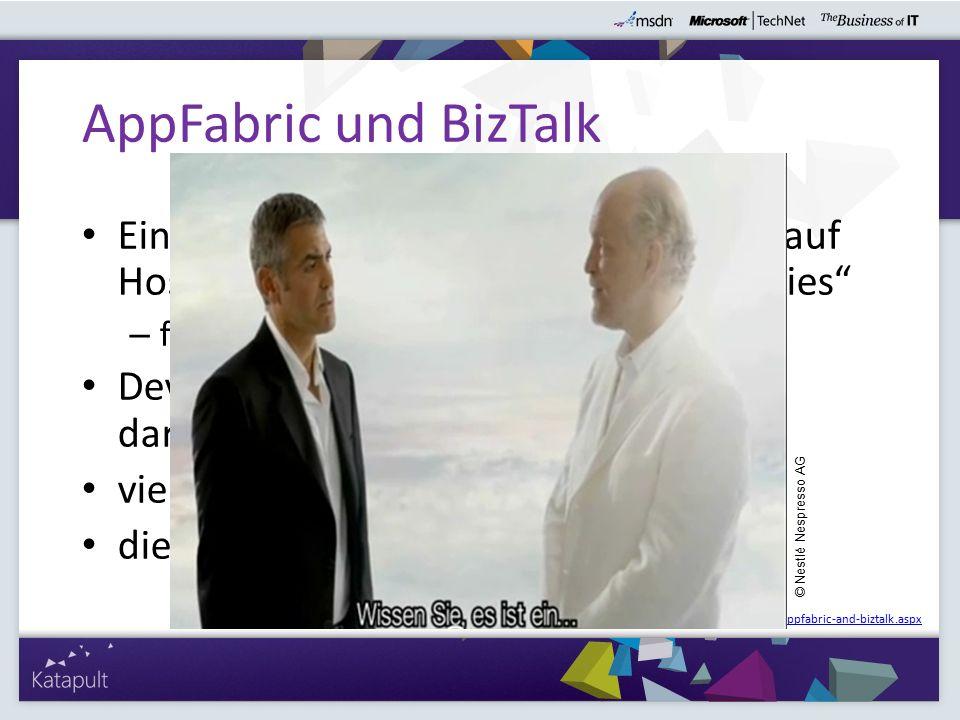 """Ein gewissen Vacuum in.NET in Bezug auf Hosting von """"Mittelschicht Code Libraries – früher COM+ Developer in.NET mussten sich selbst darum kümmern (Windows Service) viele Features in BizTalk vorhanden diese Featues """"scaled down für.NET AppFabric und BizTalk http://blogs.msdn.com/b/skaufman/archive/2009/11/23/appfabric-and-biztalk.aspx © Nestlé Nespresso AG"""