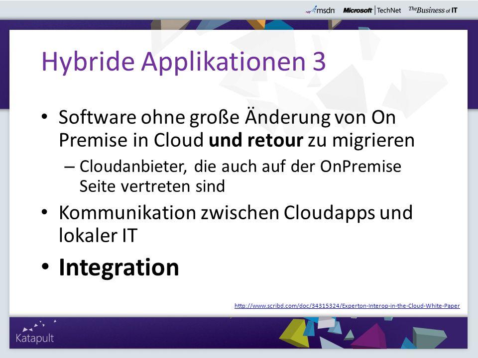 Software ohne große Änderung von On Premise in Cloud und retour zu migrieren – Cloudanbieter, die auch auf der OnPremise Seite vertreten sind Kommunikation zwischen Cloudapps und lokaler IT Integration Hybride Applikationen 3 http://www.scribd.com/doc/34315324/Experton-Interop-in-the-Cloud-White-Paper