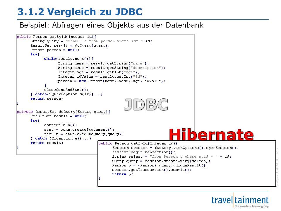 © 2012 TravelTainment 3.1.2 Vergleich zu JDBC Beispiel: Abfragen eines Objekts aus der Datenbank