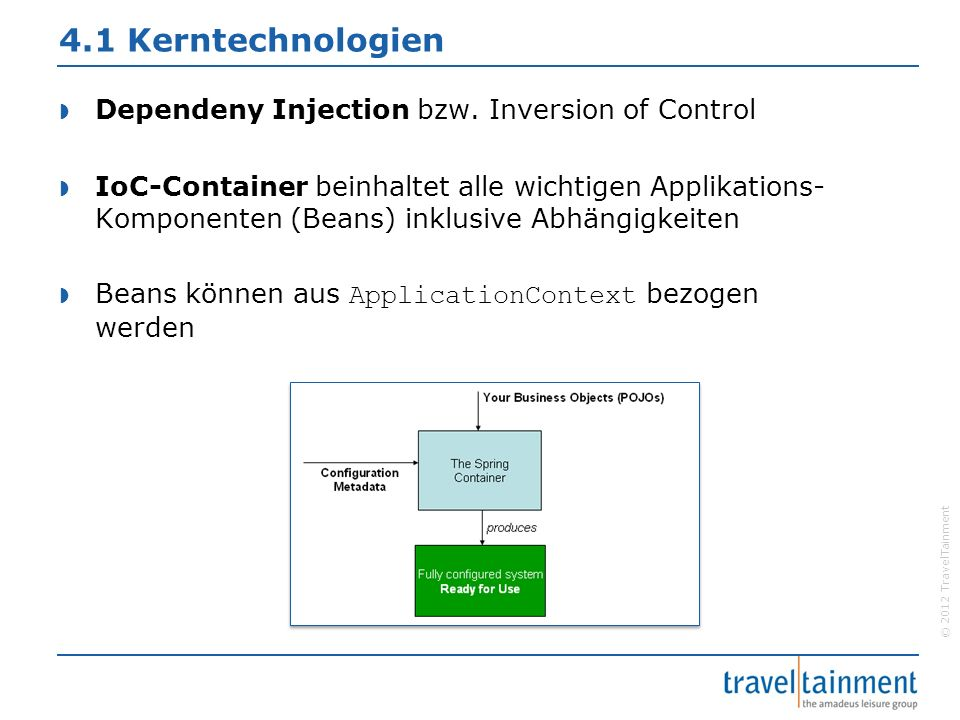 © 2012 TravelTainment 4.1 Kerntechnologien  Dependeny Injection bzw.