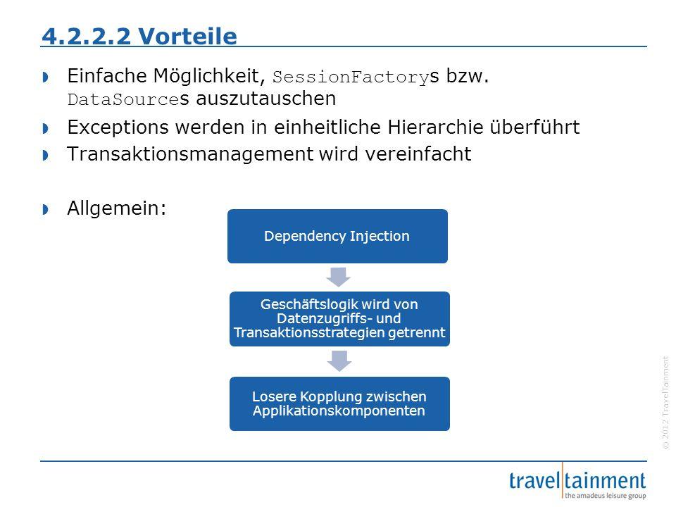 © 2012 TravelTainment 4.2.2.2 Vorteile  Einfache Möglichkeit, SessionFactory s bzw.