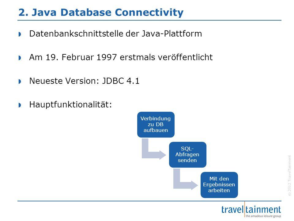 © 2012 TravelTainment 2.1 Anwendung Verbindungsaufbau Abfrage senden Verarbeiten