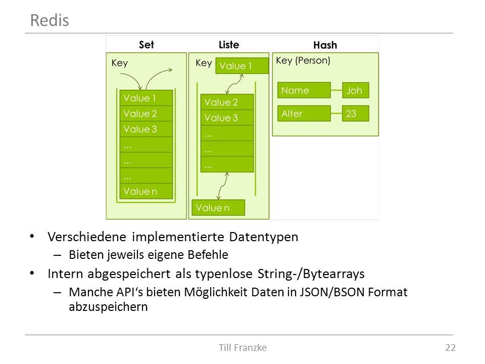 Verschiedene implementierte Datentypen – Bieten jeweils eigene Befehle Intern abgespeichert als typenlose String-/Bytearrays – Manche API's bieten Möglichkeit Daten in JSON/BSON Format abzuspeichern Till Franzke22 Redis