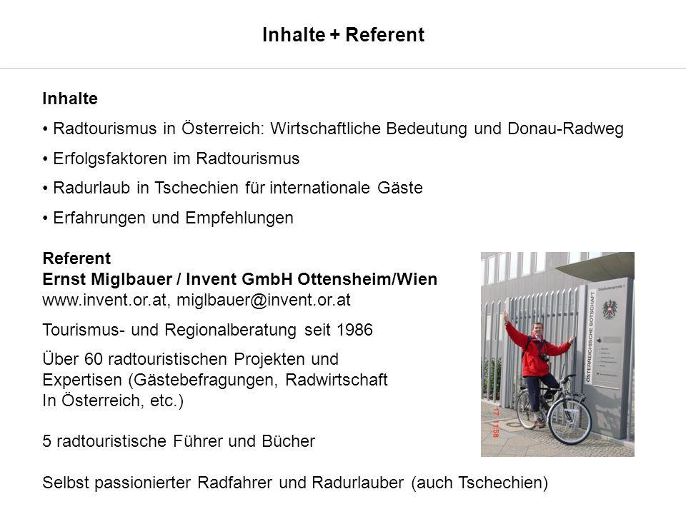 Wirtschaftliche Bedeutung - Radtourismus in Österreich Anteil Radgäste an allen Urlaubsgästen in Österreich zwischen 9 % und 18 % Direkte Wertschöpfung: 317,3 Mio.