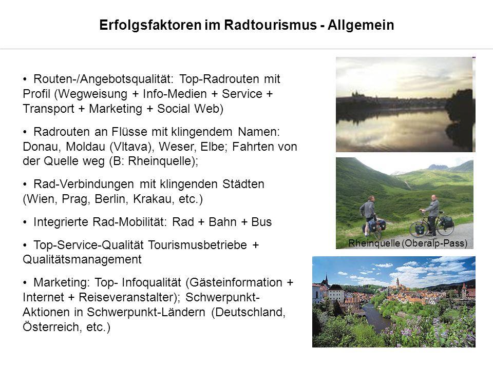 Routen-/Angebotsqualität: Top-Radrouten mit Profil (Wegweisung + Info-Medien + Service + Transport + Marketing + Social Web) Radrouten an Flüsse mit klingendem Namen: Donau, Moldau (Vltava), Weser, Elbe; Fahrten von der Quelle weg (B: Rheinquelle); Rad-Verbindungen mit klingenden Städten (Wien, Prag, Berlin, Krakau, etc.) Integrierte Rad-Mobilität: Rad + Bahn + Bus Top-Service-Qualität Tourismusbetriebe + Qualitätsmanagement Marketing: Top- Infoqualität (Gästeinformation + Internet + Reiseveranstalter); Schwerpunkt- Aktionen in Schwerpunkt-Ländern (Deutschland, Österreich, etc.) Rheinquelle (Oberalp-Pass) Erfolgsfaktoren im Radtourismus - Allgemein