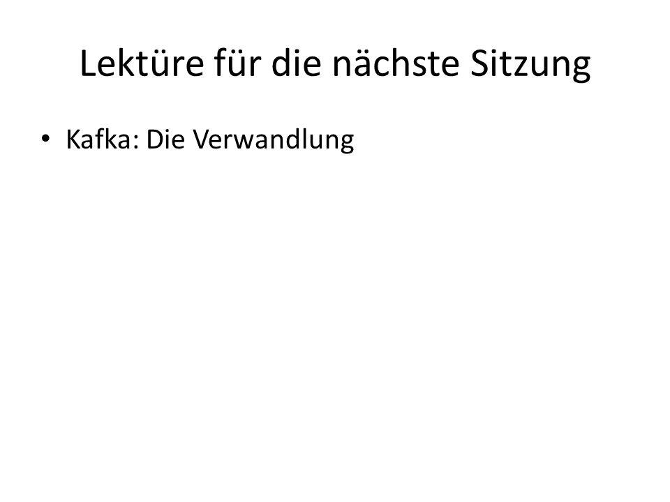 Lektüre für die nächste Sitzung Kafka: Die Verwandlung
