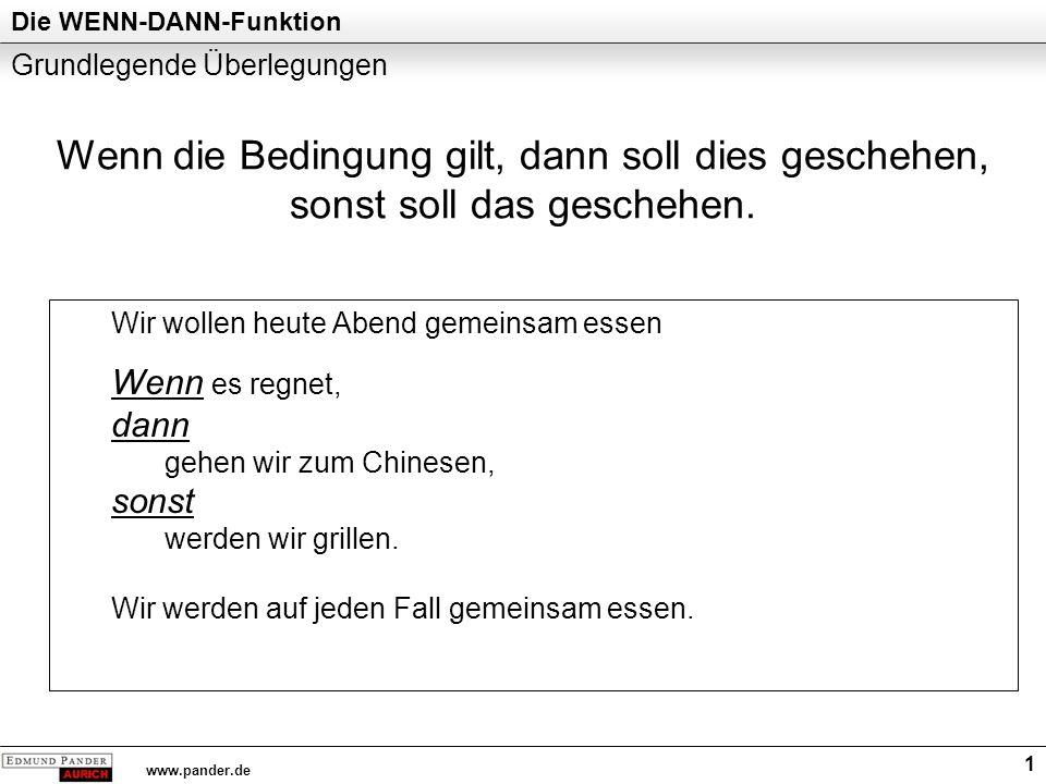 Die WENN-DANN-Funktion www.pander.de 1 Grundlegende Überlegungen Wir wollen heute Abend gemeinsam essen Wenn es regnet, dann gehen wir zum Chinesen, sonst werden wir grillen.