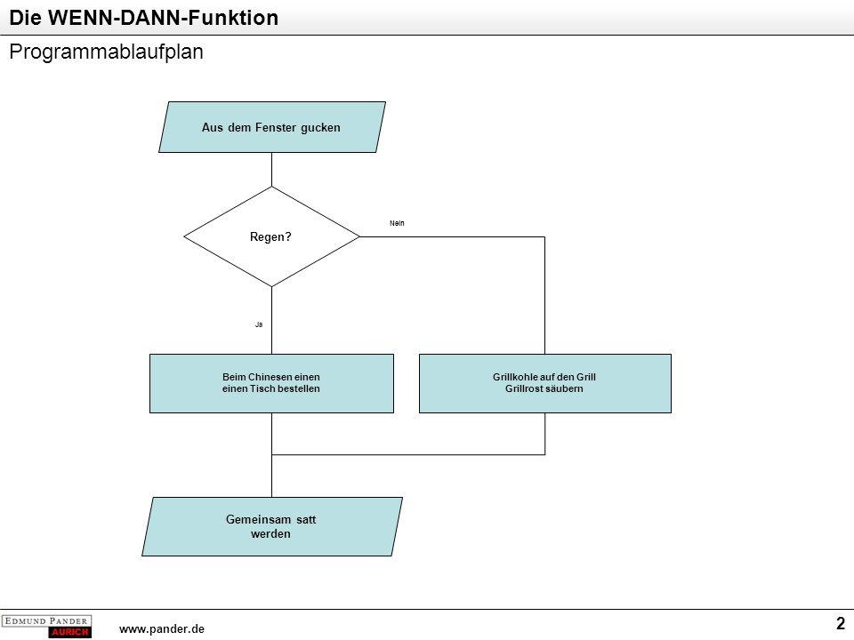 Die WENN-DANN-Funktion www.pander.de 2 Programmablaufplan Aus dem Fenster gucken Regen? Beim Chinesen einen einen Tisch bestellen Grillkohle auf den G