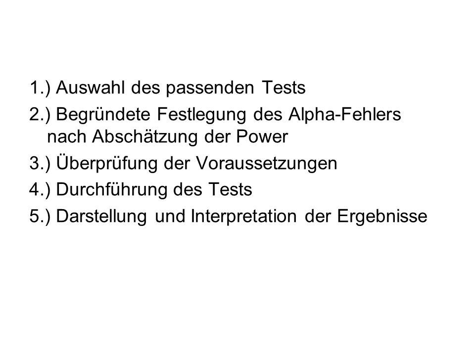 1.) Auswahl des passenden Tests 2.) Begründete Festlegung des Alpha-Fehlers nach Abschätzung der Power 3.) Überprüfung der Voraussetzungen 4.) Durchführung des Tests 5.) Darstellung und Interpretation der Ergebnisse