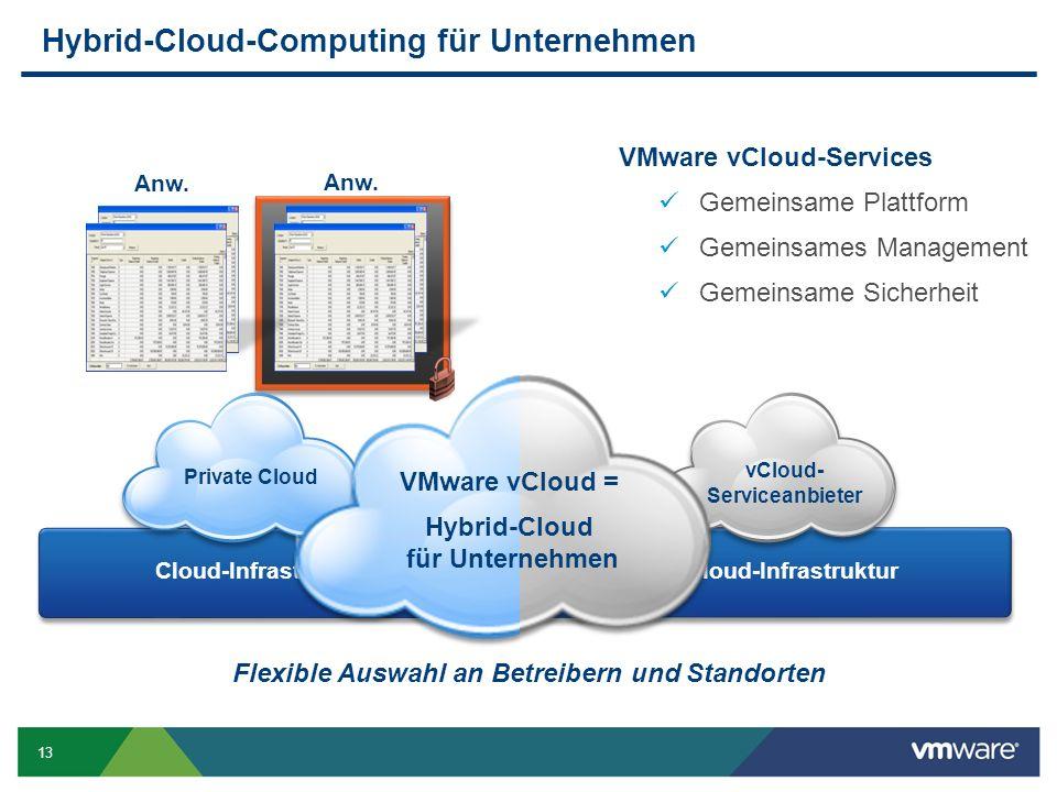 13 Anw. Hybrid-Cloud-Computing für Unternehmen Cloud-Infrastruktur Anw. Cloud-Infrastruktur Management Sicherheit VMware vCloud-Services Gemeinsame Pl