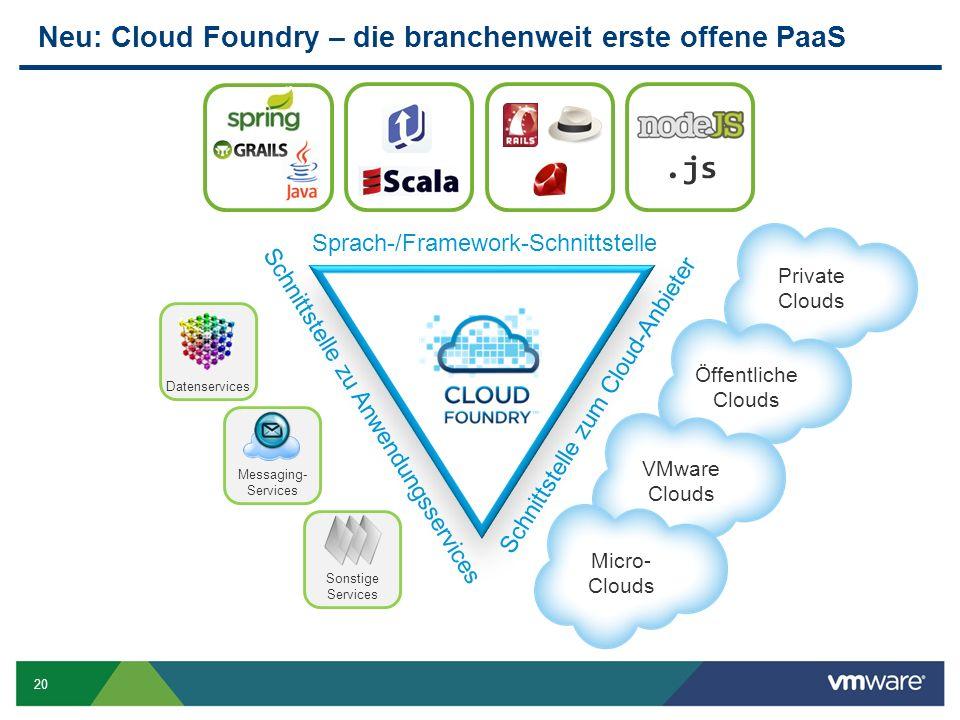 20 Neu: Cloud Foundry – die branchenweit erste offene PaaS Datenservices Sonstige Services Messaging- Services Schnittstelle zu Anwendungsservices.js Sprach-/Framework-Schnittstelle Private Clouds Öffentliche Clouds Schnittstelle zum Cloud-Anbieter VMware Clouds Micro- Clouds