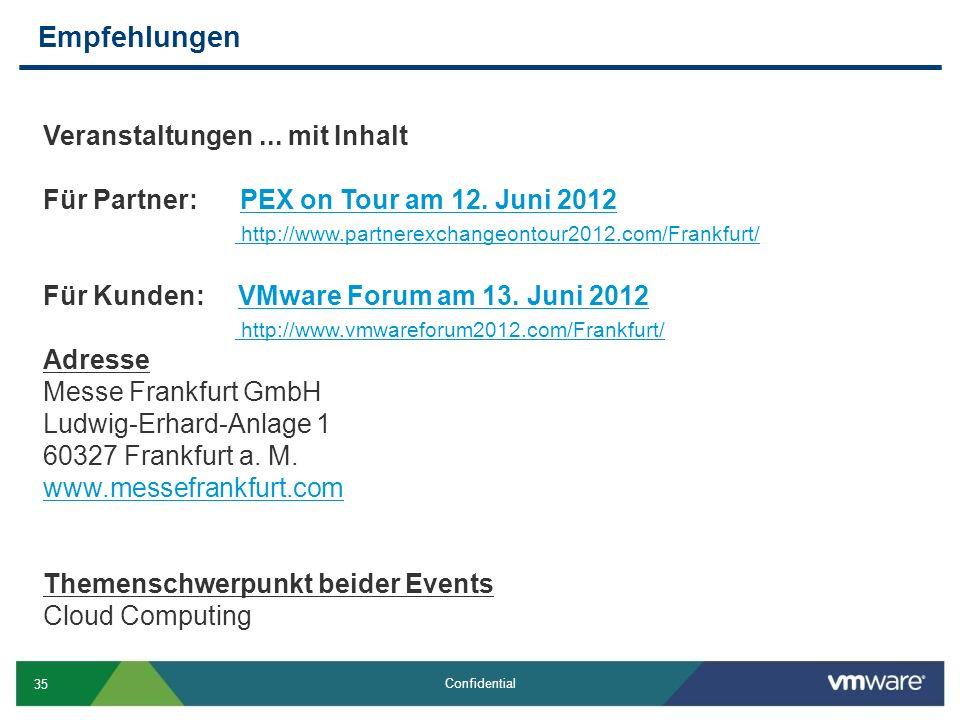 35 Confidential Empfehlungen Veranstaltungen... mit Inhalt Für Partner: PEX on Tour am 12.