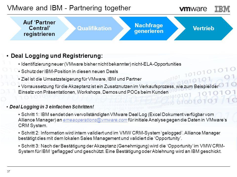 VMware and IBM - Partnering together 37 Deal Logging und Registrierung: Identifizierung neuer (VMware bisher nicht bekannter) nicht-ELA-Opportunities Schutz der IBM-Position in diesen neuen Deals Ziel ist die Umsatzsteigerung für VMware, IBM und Partner Vorraussetzung für die Akzeptanz ist ein Zusatznutzen im Verkaufsprozess, wie zum Beispiel der Einsatz von Präsentationen, Workshops, Demos und POCs beim Kunden Deal Logging in 3 einfachen Schritten.