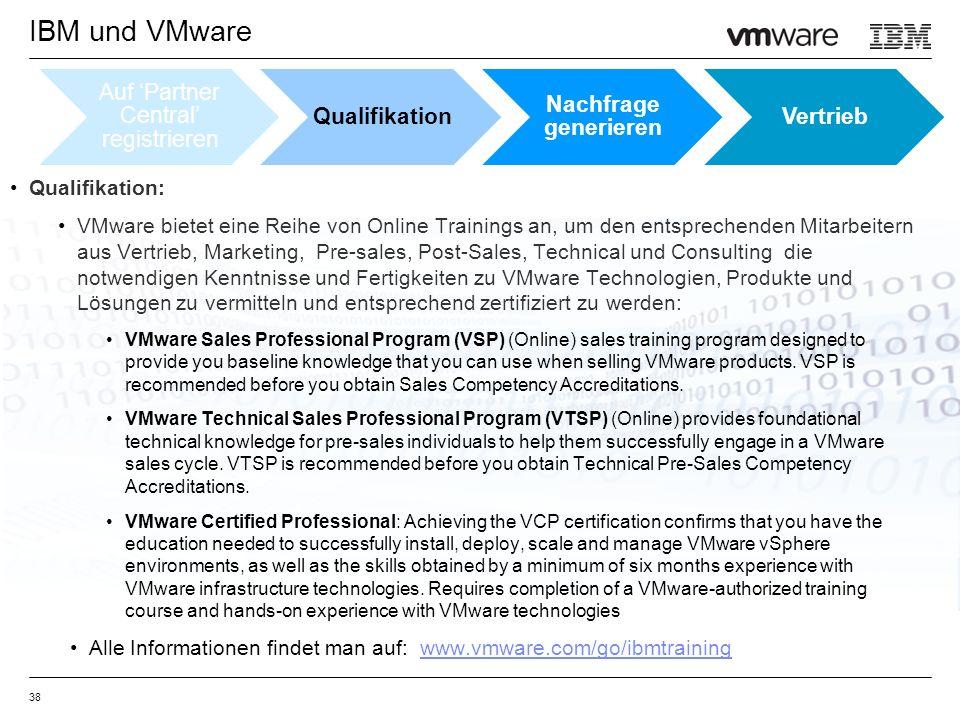Qualifikation: VMware bietet eine Reihe von Online Trainings an, um den entsprechenden Mitarbeitern aus Vertrieb, Marketing, Pre-sales, Post-Sales, Technical und Consulting die notwendigen Kenntnisse und Fertigkeiten zu VMware Technologien, Produkte und Lösungen zu vermitteln und entsprechend zertifiziert zu werden: VMware Sales Professional Program (VSP) (Online) sales training program designed to provide you baseline knowledge that you can use when selling VMware products.