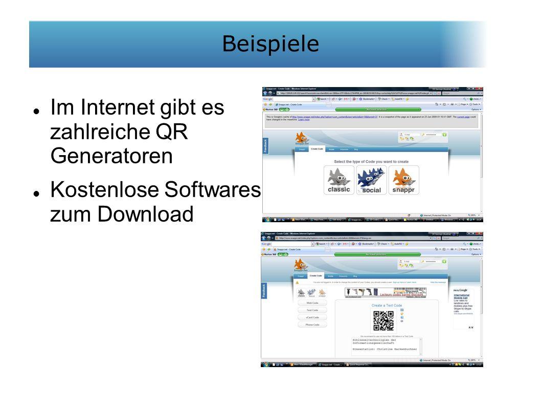 Im Internet gibt es zahlreiche QR Generatoren Kostenlose Softwares zum Download Beispiele