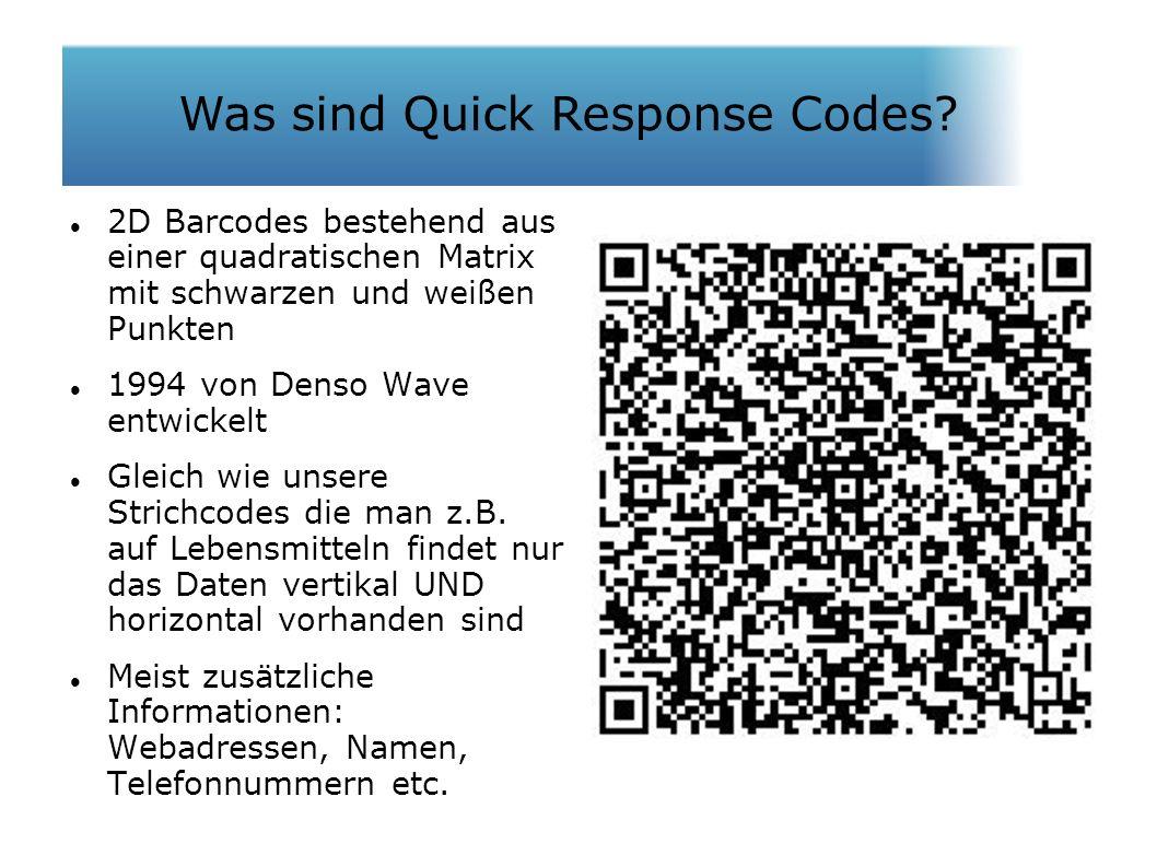 Was sind QR Codes? 2D Barcodes bestehend aus einer quadratischen Matrix mit schwarzen und weißen Punkten 1994 von Denso Wave entwickelt Gleich wie uns