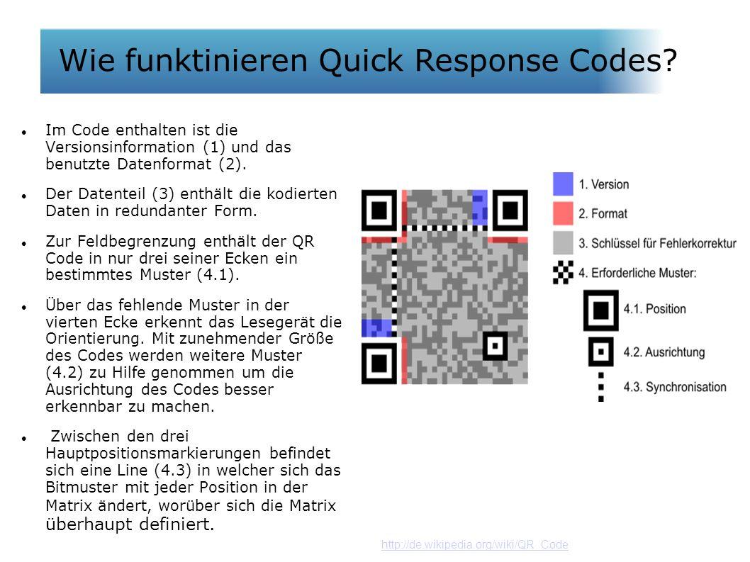 Wie funktionieren QR Codes? Im Code enthalten ist die Versionsinformation (1) und das benutzte Datenformat (2). Der Datenteil (3) enthält die kodierte