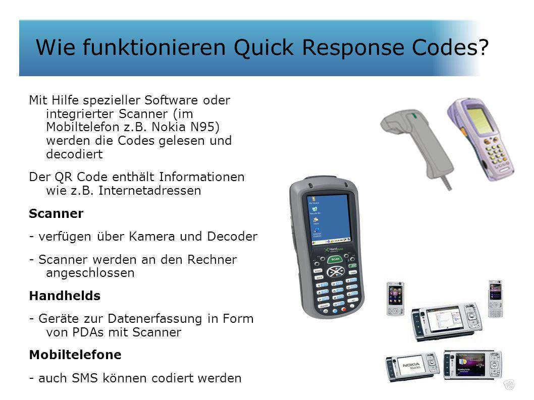 Wie funktionieren QR Codes? Mit Hilfe spezieller Software oder integrierter Scanner (im Mobiltelefon z.B. Nokia N95) werden die Codes gelesen und deco