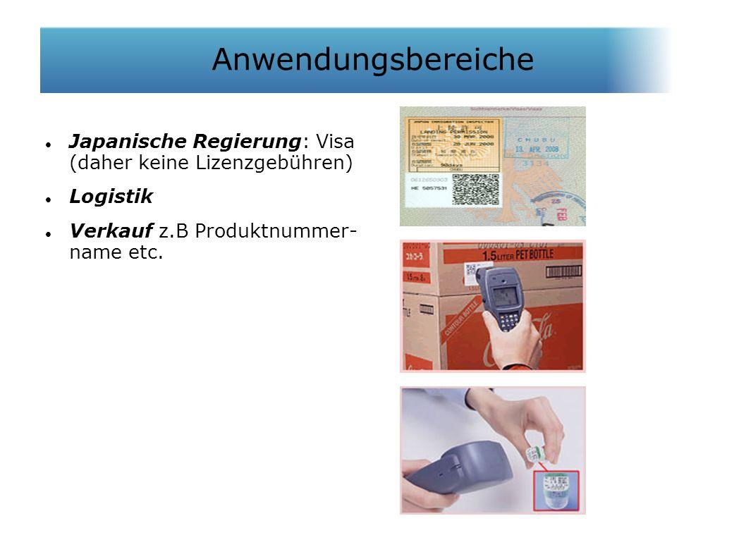 Japanische Regierung: Visa (daher keine Lizenzgebühren)  Logistik Verkauf z.B Produktnummer- name etc.