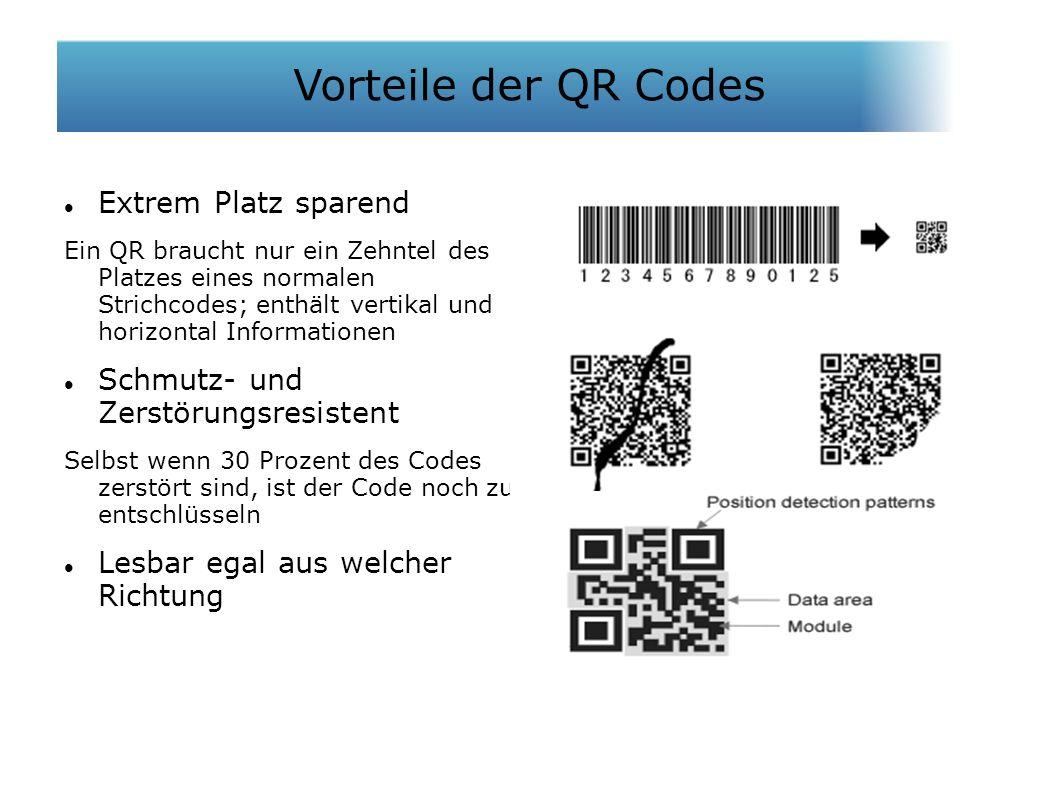 Extrem Platz sparend Ein QR braucht nur ein Zehntel des Platzes eines normalen Strichcodes; enthält vertikal und horizontal Informationen Schmutz- und Zerstörungsresistent Selbst wenn 30 Prozent des Codes zerstört sind, ist der Code noch zu entschlüsseln Lesbar egal aus welcher Richtung Vorteile der QR Codes