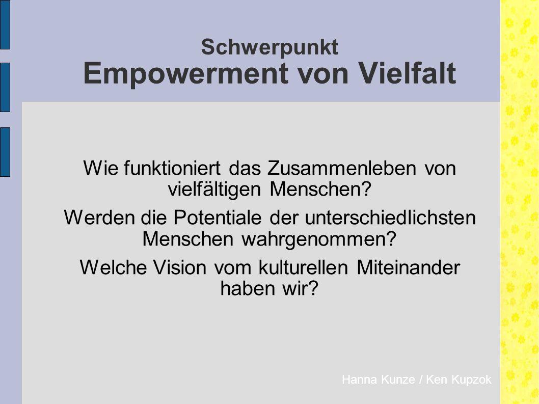 Schwerpunkt Empowerment von Vielfalt Wie funktioniert das Zusammenleben von vielfältigen Menschen.