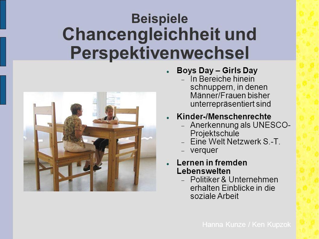 Beispiele Chancengleichheit und Perspektivenwechsel Hanna Kunze / Ken Kupzok Boys Day – Girls Day  In Bereiche hinein schnuppern, in denen Männer/Frauen bisher unterrepräsentiert sind Kinder-/Menschenrechte  Anerkennung als UNESCO- Projektschule  Eine Welt Netzwerk S.-T.