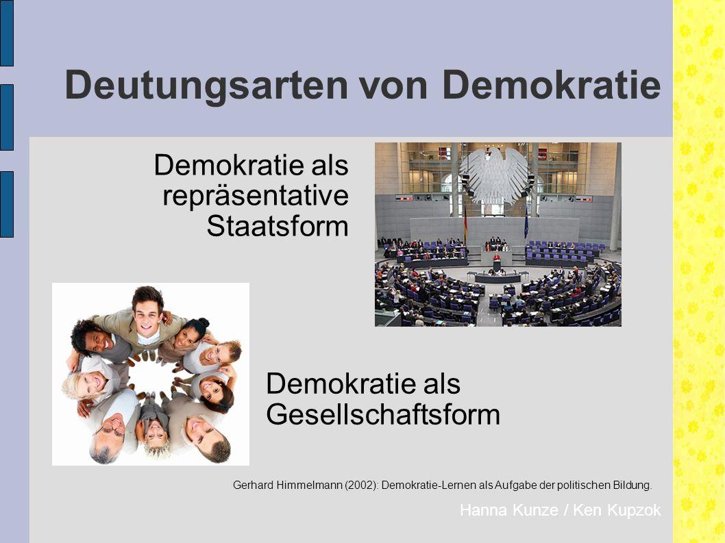 Deutungsarten von Demokratie Demokratie als repräsentative Staatsform Hanna Kunze / Ken Kupzok Demokratie als Gesellschaftsform Gerhard Himmelmann (2002): Demokratie-Lernen als Aufgabe der politischen Bildung.