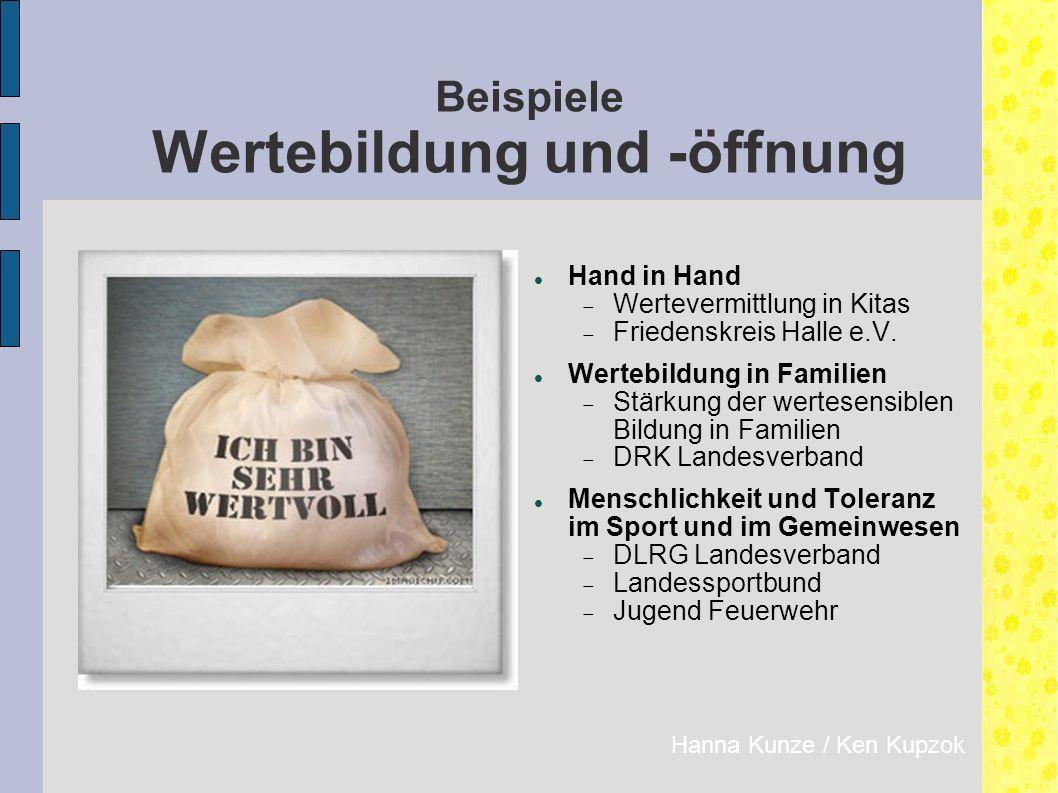 Beispiele Wertebildung und -öffnung Hand in Hand  Wertevermittlung in Kitas  Friedenskreis Halle e.V.