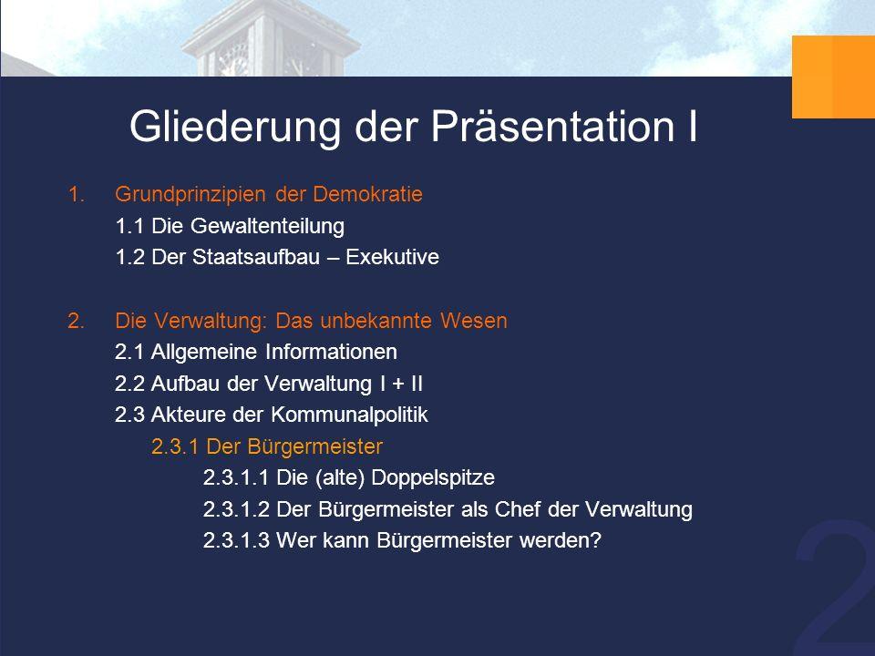 13 2.3.1 Der Bürgermeister…  ist Chef der Verwaltung und Vorsitzender des Stadtrates  ist Repräsentant der Stadt Neuss – so fungiert er bspw.