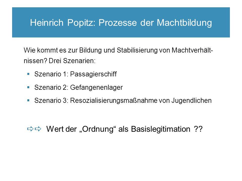 Heinrich Popitz: Prozesse der Machtbildung Wie kommt es zur Bildung und Stabilisierung von Machtverhält- nissen.