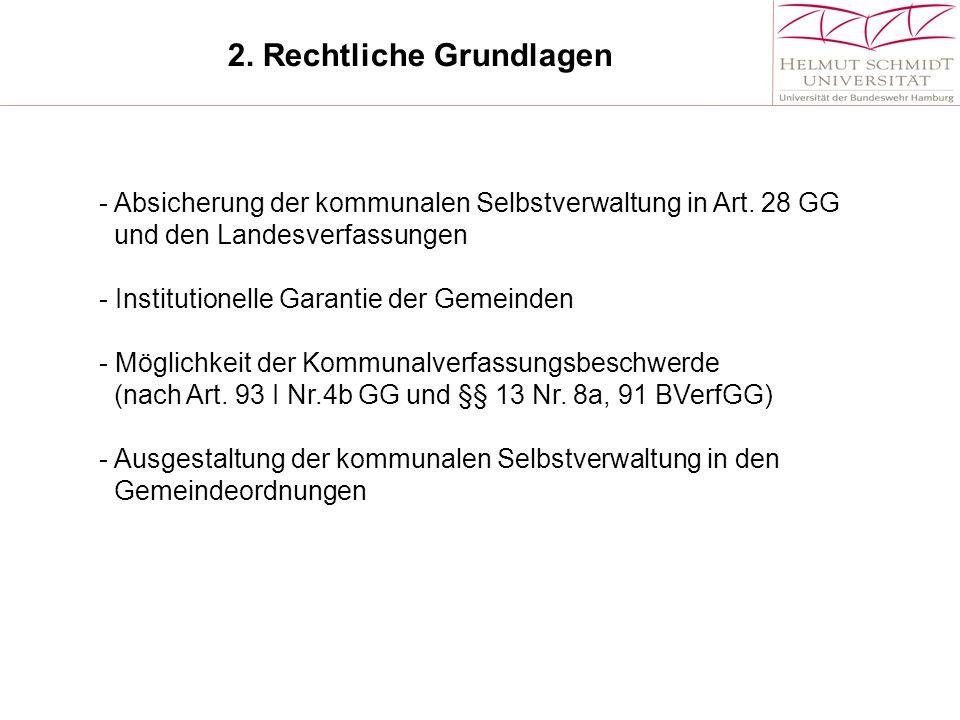 2.Rechtliche Grundlagen - Absicherung der kommunalen Selbstverwaltung in Art.
