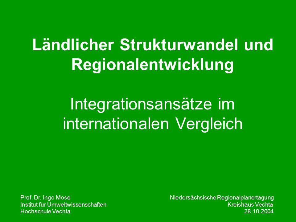 Prof. Dr. Ingo Mose Niedersächsische Regionalplanertagung Institut für UmweltwissenschaftenKreishaus Vechta Hochschule Vechta 28.10.2004 Ländlicher St
