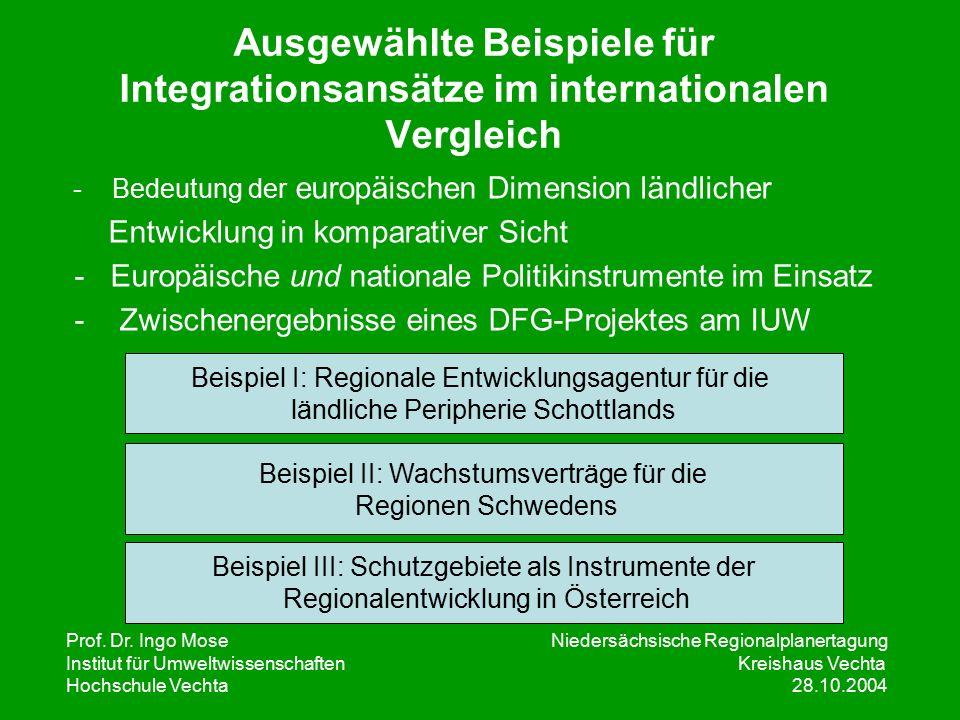 Prof. Dr. Ingo Mose Niedersächsische Regionalplanertagung Institut für UmweltwissenschaftenKreishaus Vechta Hochschule Vechta 28.10.2004 Ausgewählte B