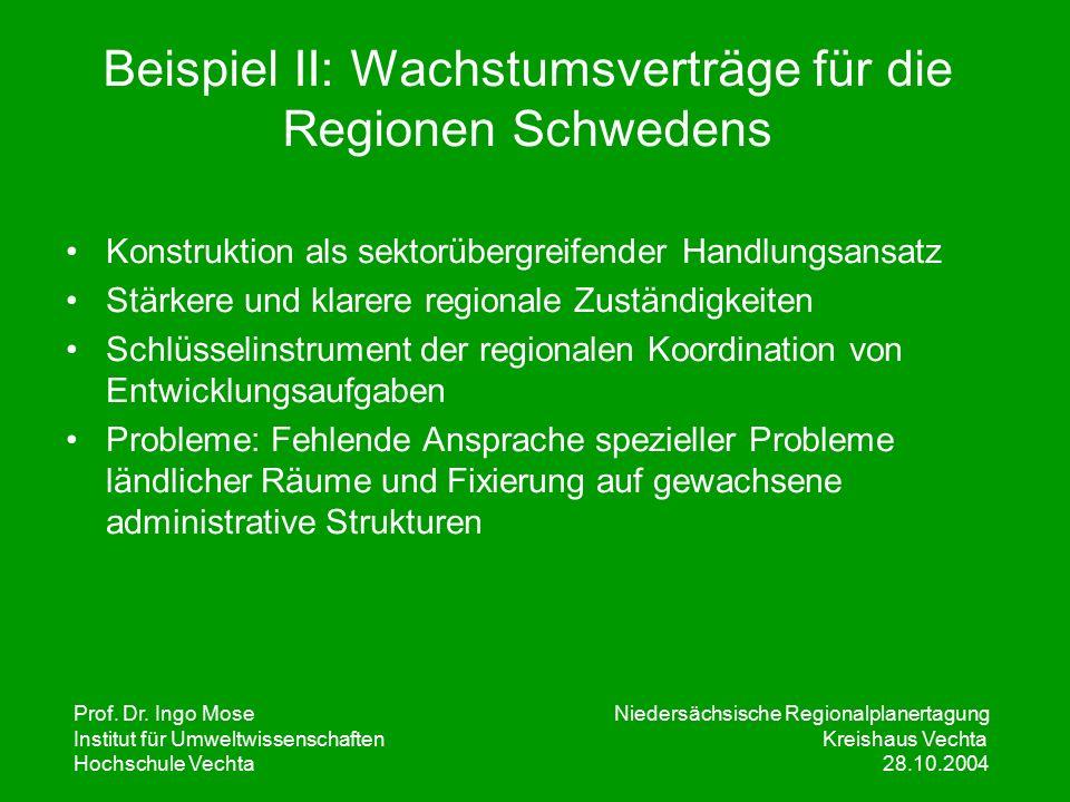 Prof. Dr. Ingo Mose Niedersächsische Regionalplanertagung Institut für UmweltwissenschaftenKreishaus Vechta Hochschule Vechta 28.10.2004 Beispiel II: