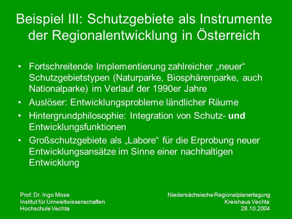 Prof. Dr. Ingo Mose Niedersächsische Regionalplanertagung Institut für UmweltwissenschaftenKreishaus Vechta Hochschule Vechta 28.10.2004 Beispiel III: