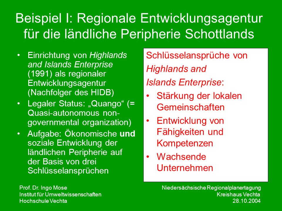 Prof. Dr. Ingo Mose Niedersächsische Regionalplanertagung Institut für UmweltwissenschaftenKreishaus Vechta Hochschule Vechta 28.10.2004 Beispiel I: R
