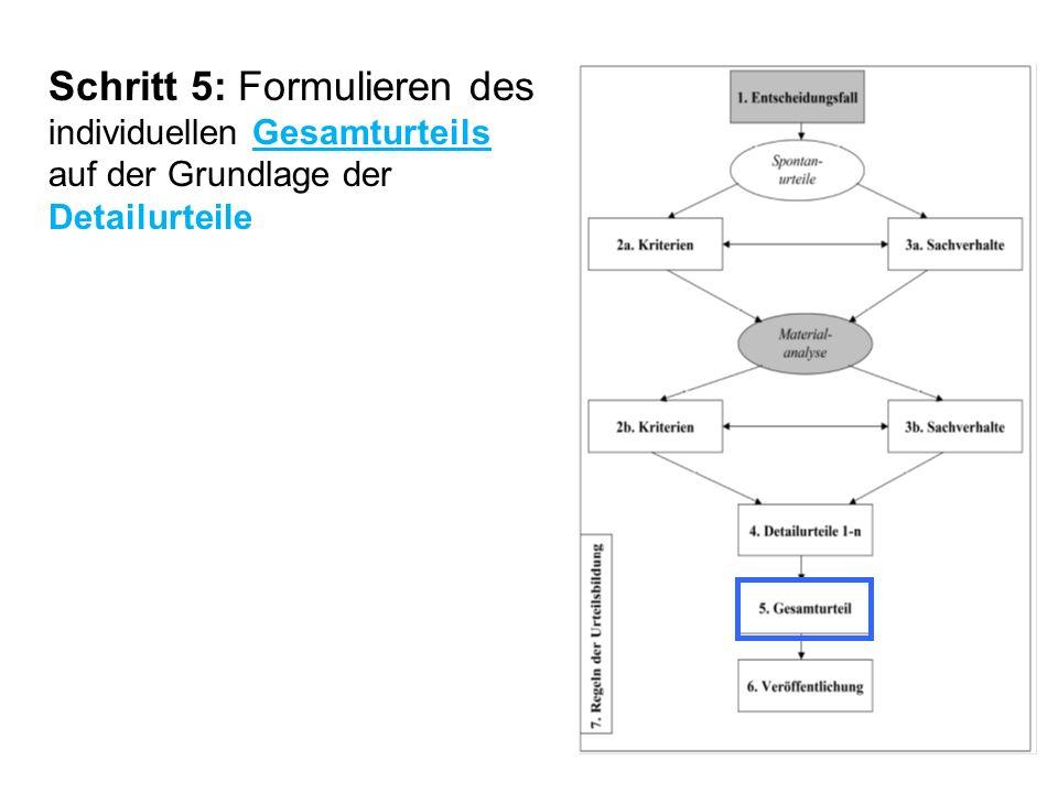 Schritt 5: Formulieren des individuellen Gesamturteils auf der Grundlage der Detailurteile