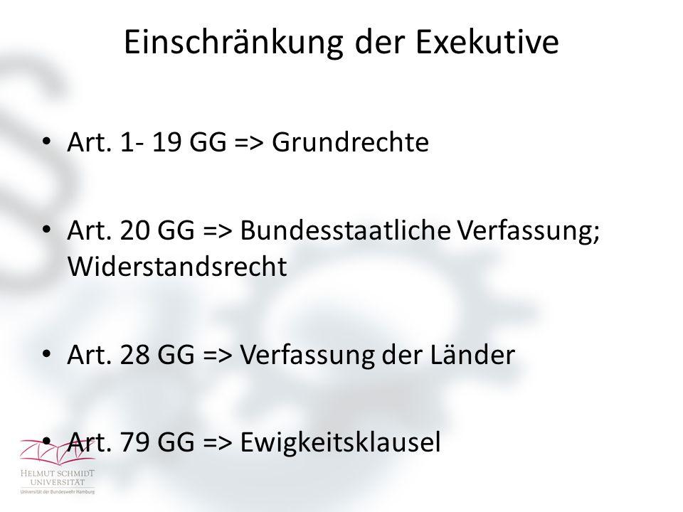 Einschränkung der Exekutive Art. 1- 19 GG => Grundrechte Art.