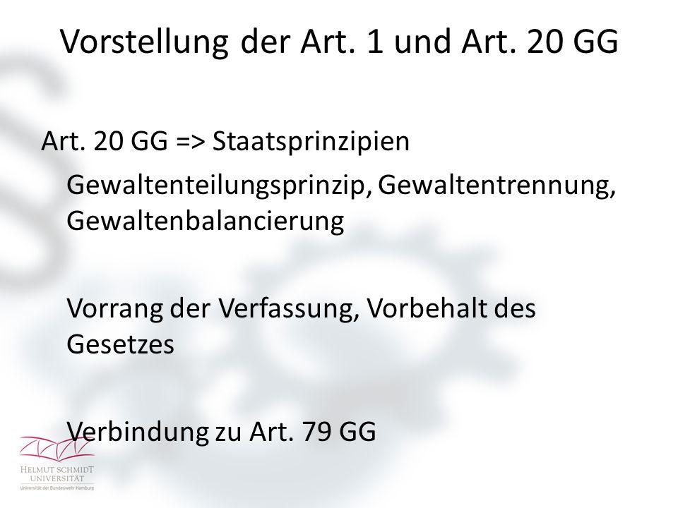 Vorstellung der Art. 1 und Art. 20 GG Art.